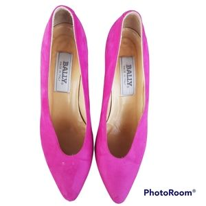 BALLY women's pink heel pumps shoes. Size 8.5. Vero cuoio leather.Made in italy